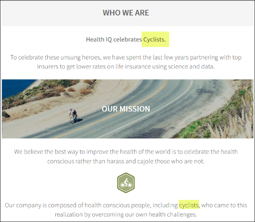 Health I.Q. Cyclists Landing Page