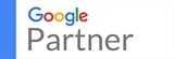 Multi-colored Google word with the word Partner in larger letters