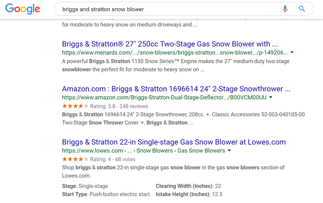 Google SERP with Schema Example