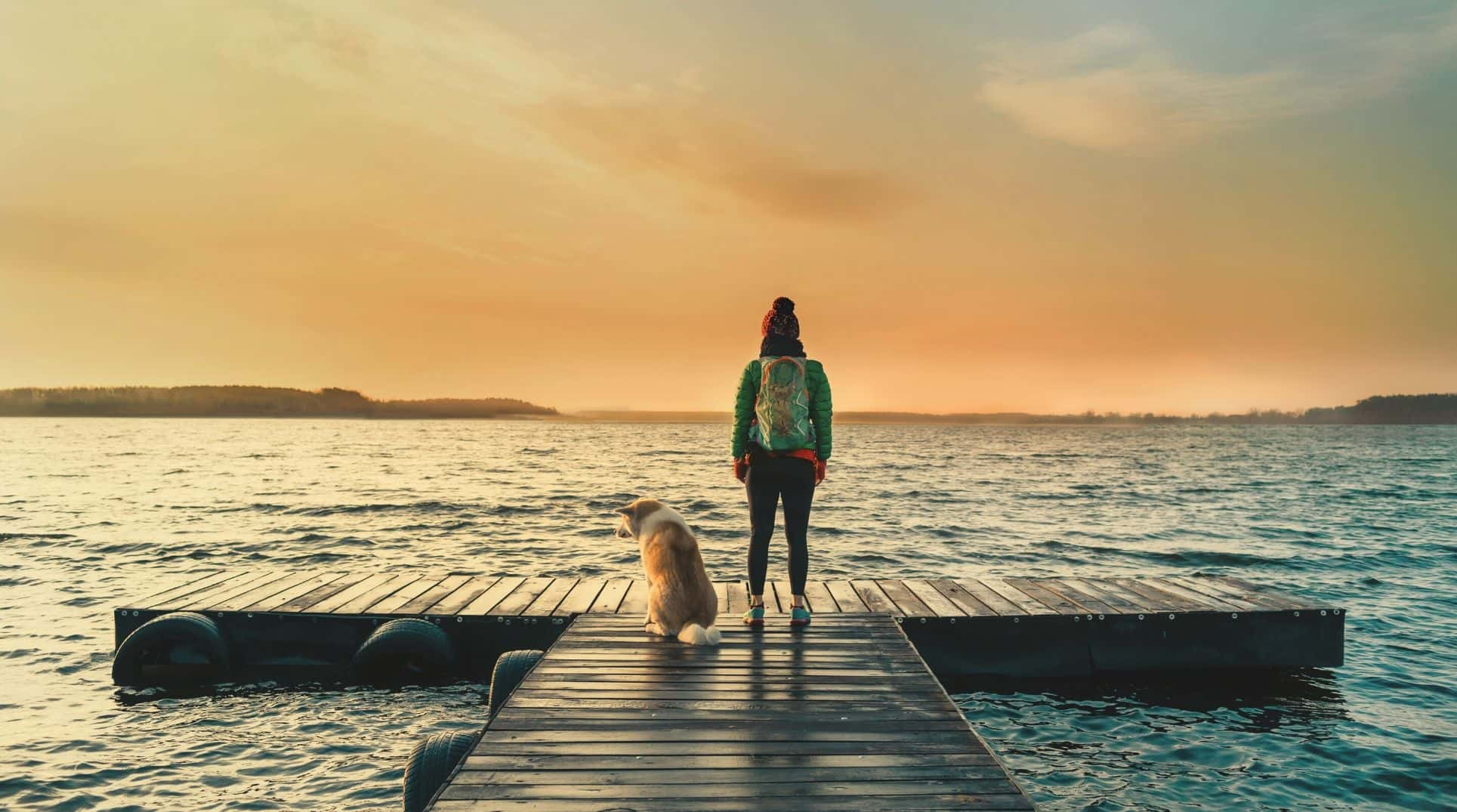 person and dog at the end of lake pier at sunset